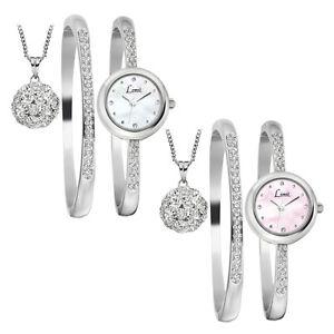 Limit Ladies Elegant Stone Set Watch Matching Bracelet, Ball Pendant