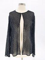 Vtg JMD New York Womens Black Sheer Fully Beaded Sequin Shiny Cocktail Jacket L