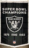 Oakland Raiders NFL Super Bowl Championship Flag 3x5 ft Vertical Banner Man-Cave