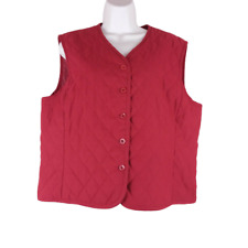 Pendleton Quilted Vest Women's Size L Button Front V-Neck Equestrian Riding Red