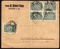 Germany 1922 Cover with 12x USED Green 5000 Mk Stamps