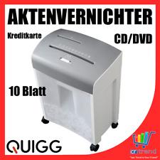 QUIGG Aktenvernichter Kreuzschnitt CD DVD Kreditkarten Schredder 10 Blatt Rollen
