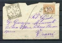 S4322) Regno 1893 Trani para Ciudad - Tasada 10c (st N.21) Firmado Chiavarello