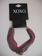 XOXO New Bracelet Multi-Strands of Metal Chains Pink Highlights NWT