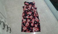 Gorgeous DAMART Below Knee Stretch Party Floral Wrap Dress, size 18 UK