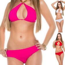 KouCla LONDON Women's Chain Top & Bottom Swimwear Swimsuit Bikini Set - S/M/L