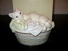 Lenox Zzz Perfect Spot Cat In Basket Figurine New In Box $89 Retail