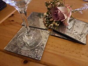Antique Mirror Glass Coasters Grey Set of 4