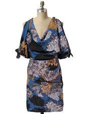 NWT- Eva Franco Anthropologie Blue Floral Silk Cowl Neck Cold Shoulder Dress- M