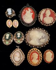 Vintage Estate Jewelry Cameo Lot Pins Brooches Earrings Ring Pendants