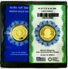 2016 The Indian GOLD coin 10 grams ASHOKA Chakra GANDHI 24kt pure 99