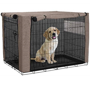 "HANSHI Brown L 42"" Polyester Dog Crate Cover Durable Windproof Pet Kennel Cover"