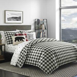 Black White Buffalo Check Plaid Cabin Lodge Cotton DUVET Set Modern Rustic