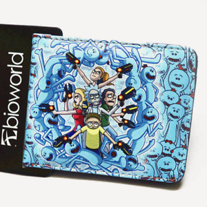 Rick and Morty Meeseeks  Wallet Men Cartoon Bifold Coins Cards Holder Blue