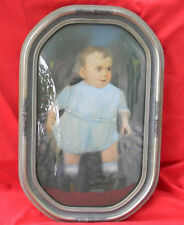 ANTIQUE AMERICAN HARD WOOD CONVEX BUBBLE ART GLASS PICTURE FRAME w/ BABY