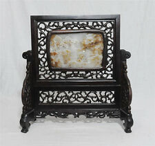 Nice  Hand  Carved  Chinese  Jade  Insert  Table  Screen.