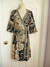 Talbots Dress 8P Faux Wrap Style 3/4 Sleeves Floral Houndstooth Black Taupe