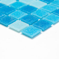 Fliesen Mosaik Mosaikfliese Quadrat Bad Pool Glas hell blau mix 4mm NEU #166