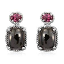 New SHUNGITE Orissa Rhodolite Garnet Platinum Over 925 Sterling Silver Earrings
