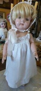 "1911 mark Schoenhut All Wood Perfection 17"" Doll Orig Paint Factory Dress Wig"