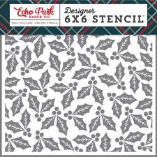 """Echo Park 6"""" x 6"""" Stencil - Jolly Holly, Christmas"""