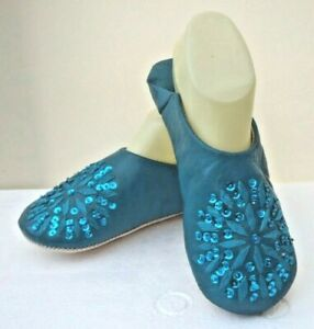 MOROCCAN * TURQUOISE * LEATHER SEQUINED SLIPPERS