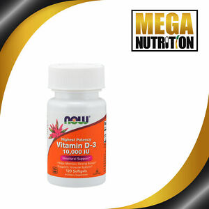 NOW Foods Vitamin D3 High Potency 10,000 IU 120 Softgel Supports Immune System