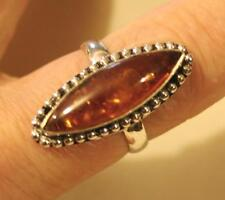 Handsome Elongated Ambertone Specked Rhombus 925 Silver  Finger Ring Size 8.5
