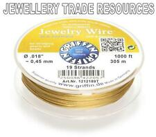 "GRIFFIN GOLD PLATED STEEL BEADING JEWELRY WIRE .018"" / 0.45mm 1000 FT. 19 STRAND"