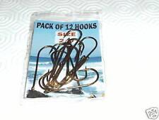Pack of 12 eyed sea fishing hooks Size 1/0