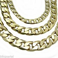 """Miami Cuban Link Chain 14k Gold Plated 7mm-12mm Hip Hop  24"""" 30"""" Flat Necklace"""