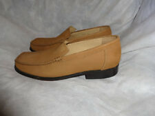 SAMUEL WINDSOR MEN BEIGE LEATHER SLIP ON LOAFER SHOE SIZE UK 6.5 EU 40.5 VGC