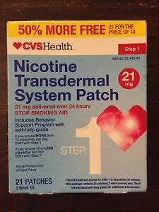 CVS Step 1 Nicotine Transdermal System Patches (21mg) 21ct exp10/2020