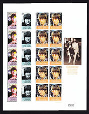 John Lennon Yoko Ono Beatles Gibraltar Tres Hojas de Sello estampillada sin montar o nunca montada sellos de música