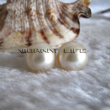 13-14mm White South Sea Mabe Pearl Earrings Stud Earrings U