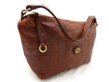 THE BRIDGE chocolate brown leather croc embossed grab bag tote handbag