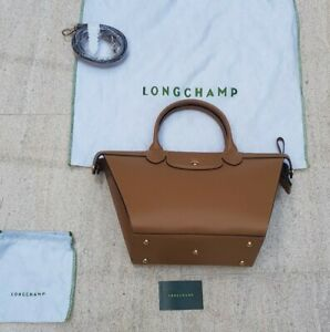 LONGCHAMP Pliage Heritage Leather Crossbody Top Handle Shoulder Bag Camel NWT