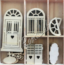 6 DECORAZIONI LEGNO porte e finestre in stile shabby chic ORNAMENTI SCRAPBOOKING