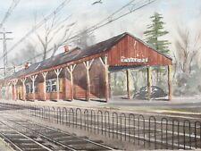 Vintage 1969 Riverside IL CA Train Station Depot Walter F Wagner Painting Frame
