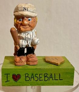 Hand Carved Hand Painted Baseball Player-Tribute to NY Yankees and Mickey Mantle