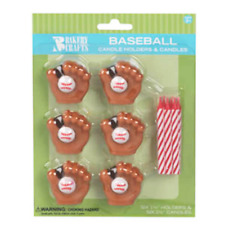 Baseball birthday candle holders
