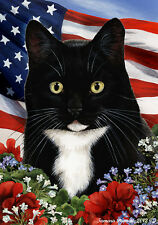 Garden Indoor/Outdoor Patriotic I Flag - Black & White Cat Tuxedo 169501