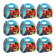 12 x SPIDERMAN TREAT CAKE FOOD BOXES FAVORS CARDBOARD PARTY GOODY BAGS 395-753