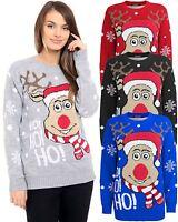 New Unisex Adult Kids Knitted HoHoHo Christmas Xmas Reindeer Jumper Top Sweater