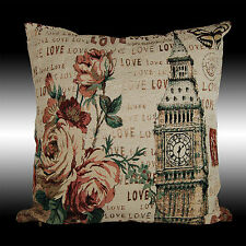 """SHABBY CHIC ROSES ELIZABETH TOWER COUNTRY CUSHION PILLOW CASE COVER THROW 17"""""""