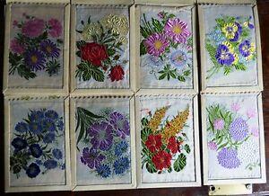 Eight Large Silk Kensitas Flowers Cigarette Cards