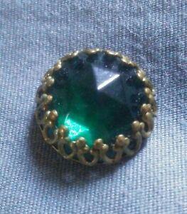 Antique Green Glass Button.