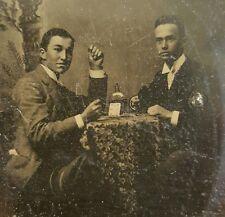 ANTIQUE ARTISTIC GAMBLER POKER FACE SIX HEARTS LIQUOR CARD GAME TINTYPE PHOTO