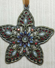 VINTAGE BRONZE STYLE,METAL,ENAMEL,PEARL,JEWELLED STAR CHRISTMAS TREE DECORATION