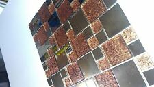 1 X SHEET OF GLASS & STAINLESS STEEL BLEND MOSAIC TILEno.7